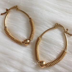 18 K Gold Filled Oval Hoop Earrings Rustic Style